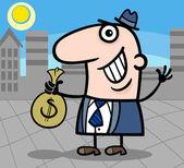 šťastný podnikatel kreslený obrázek