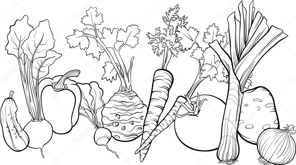 Ilustracion Conjunto De Verduras Para Colorear Verduras Grupo