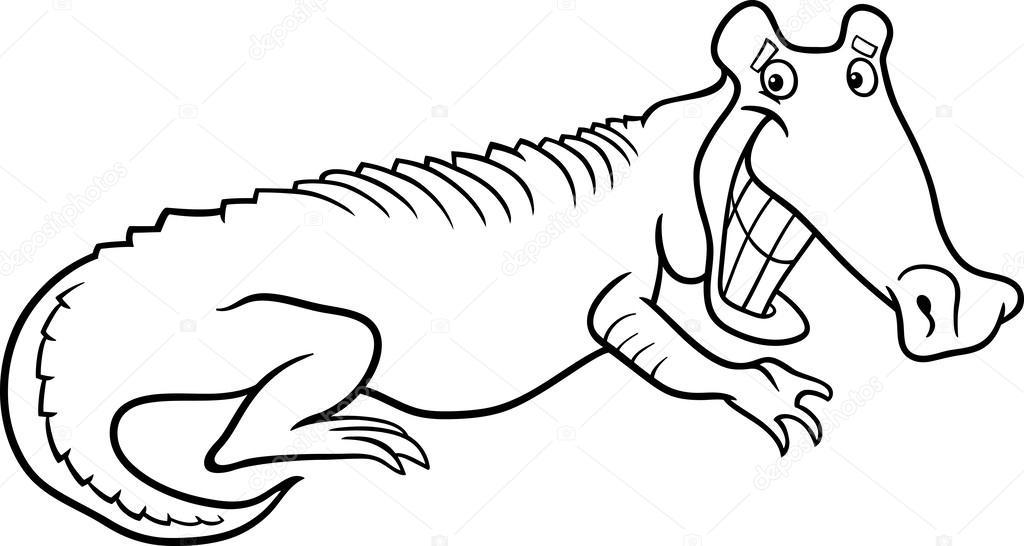 Animado: un cocodrilo para colorear | cocodrilo de dibujos animados ...