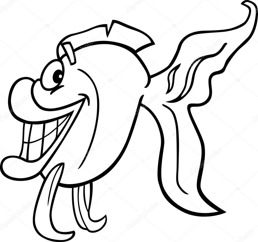 Illustration de dessin animé noir et blanc de mignon petit poisson pour cahier de coloriage — Vecteur par izakowski