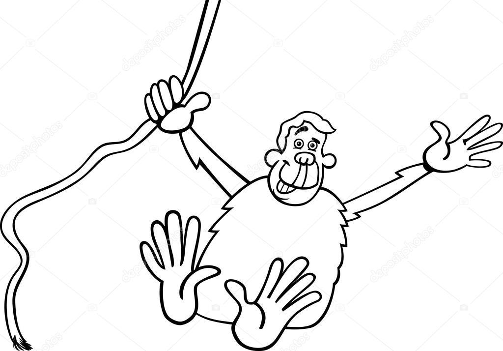 Ilustración de dibujos animados mono para colorear — Archivo ...