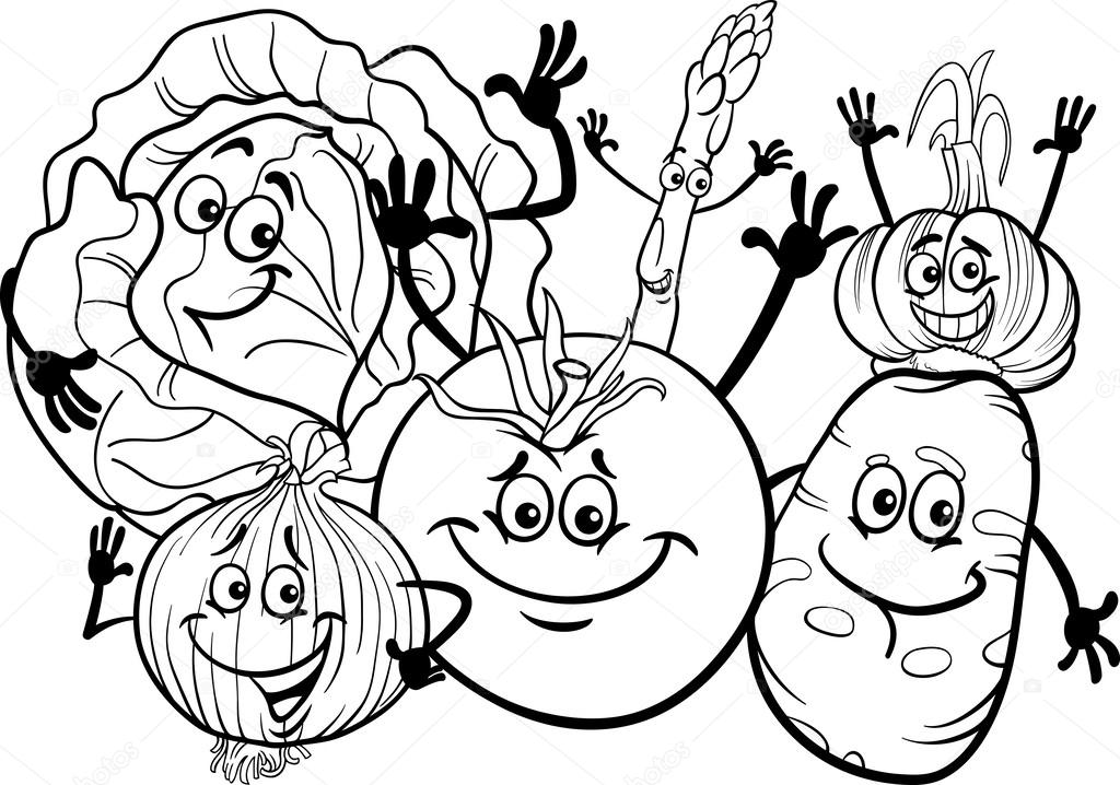Black And White Cartoon Illustration Of Funny Vegetables Food Characters Group For Coloring Book Vector By Izakowski