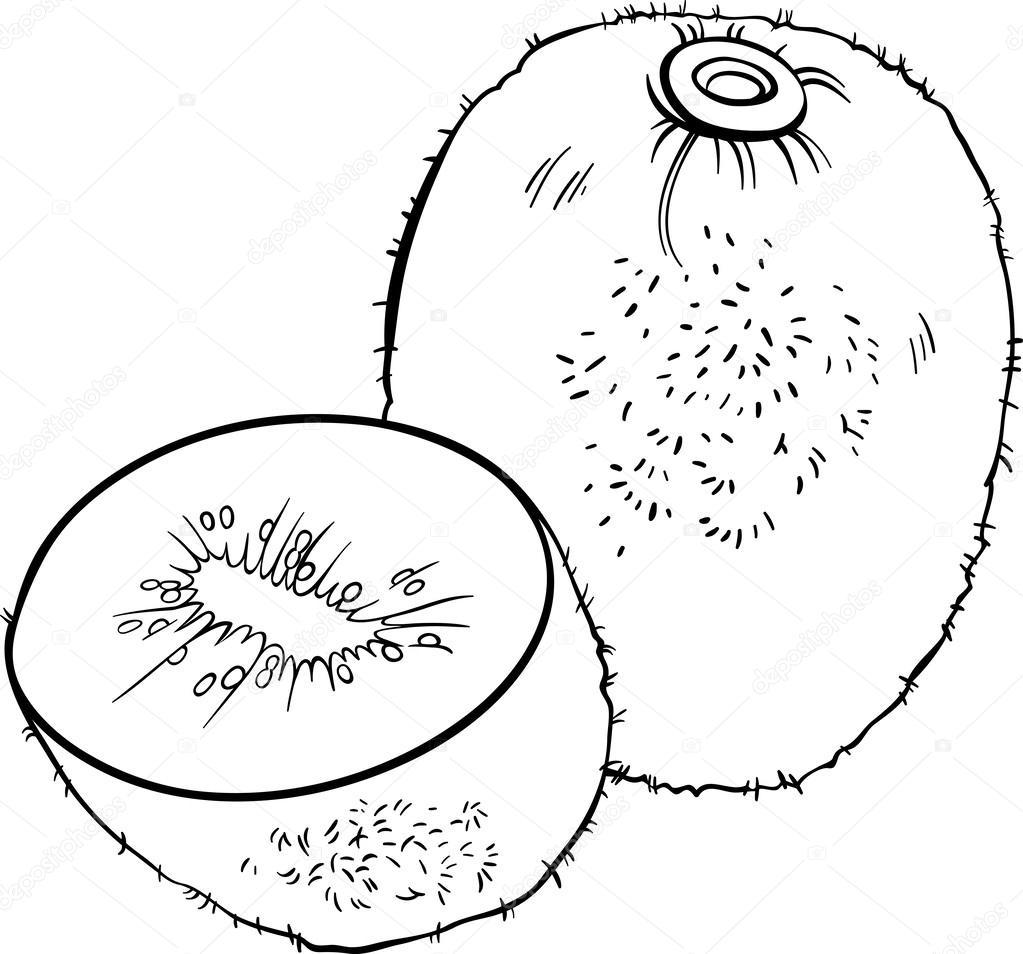 Boyama Kitabı Için Kivi Meyve şekil Stok Vektör Izakowski 26129175