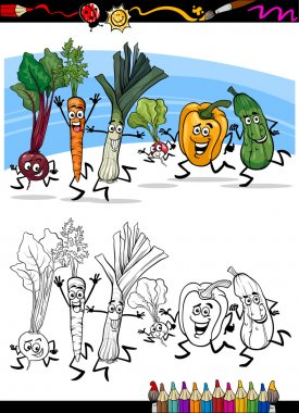 Coloring Book or Page Cartoon Illustration of Running Vegetables Funny Food Objects Group for Children Education clip art vector