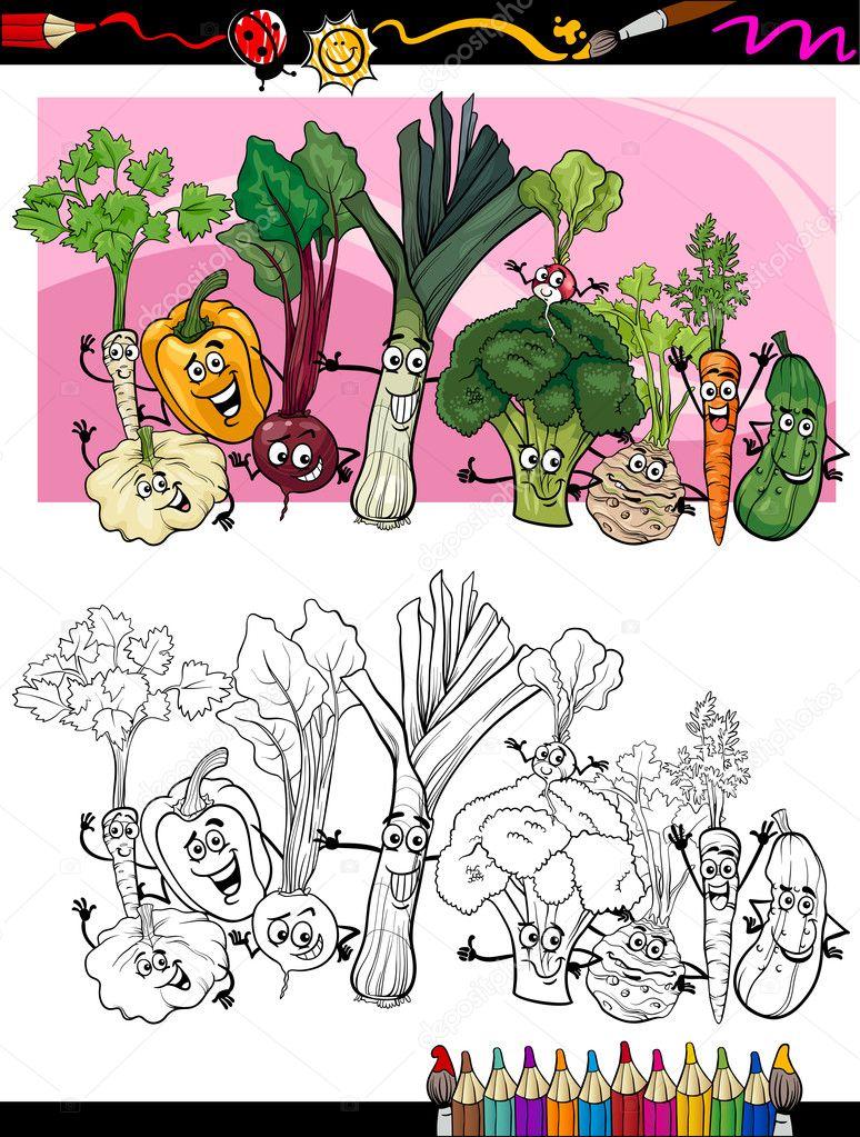 Мультфильм веселые овощи для раскраски книга — Векторное ...