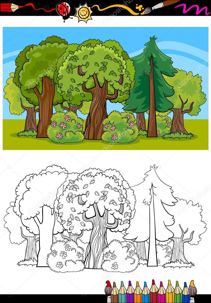 Ağaç Ve Orman Boyama Kitabı Için Karikatür Stok Vektör Izakowski