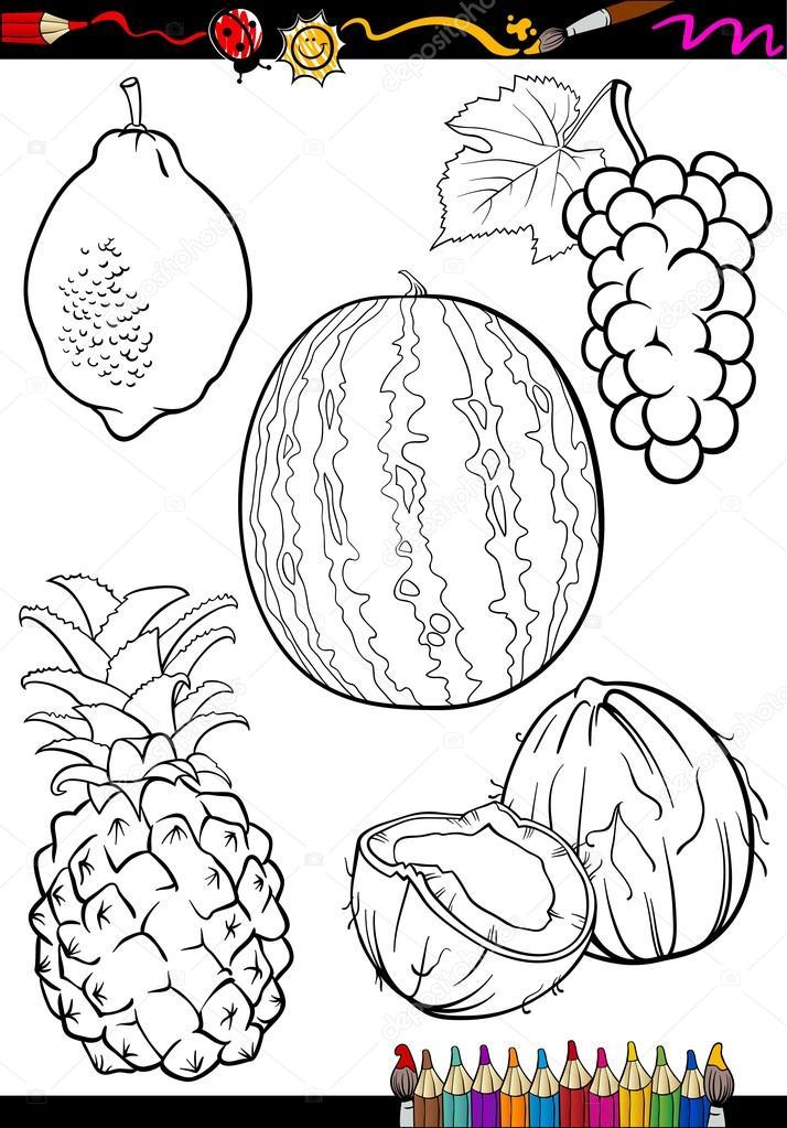frutas de dibujos animados para colorear libro — Archivo Imágenes ...