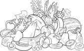 Fotografie Obst und Gemüse für Malbuch