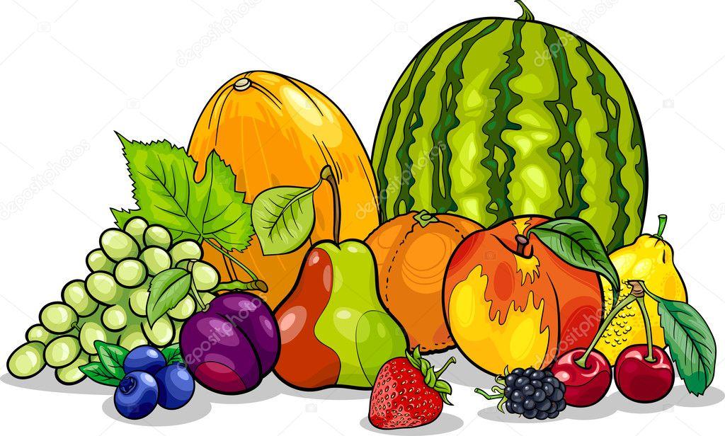 fruits group cartoon illustration