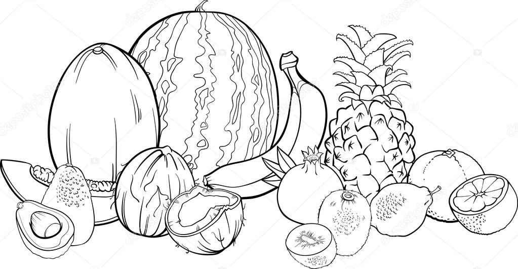 Coloriage Fruits Tropicaux.Illustration De Fruits Tropicaux Pour Cahier De Coloriage Image