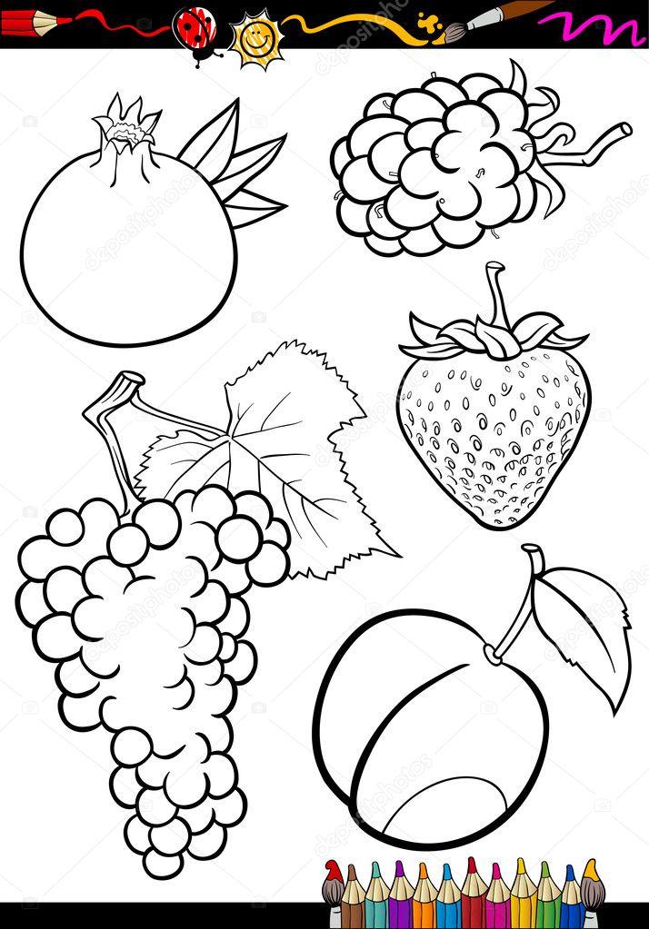 Karikatür Meyveler Boyama Kitabı Için Ayarla Stok Vektör