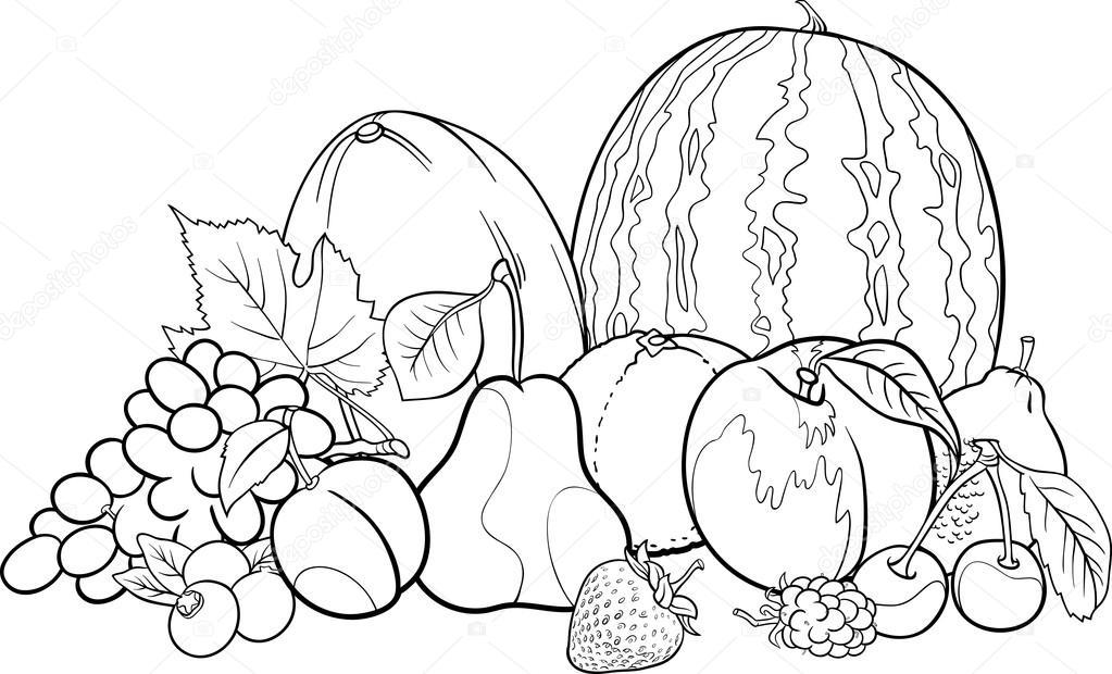 Ilustración del grupo de frutas para colorear libro — Vector de ...