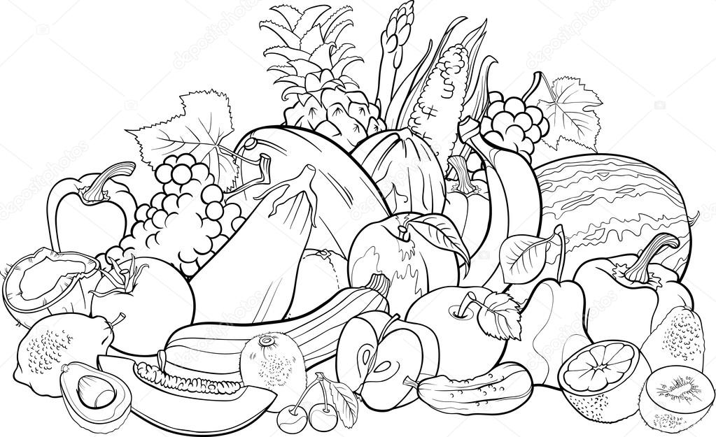 Fruits And Vegetables For Coloring Book Stock Vector C Izakowski 26368407