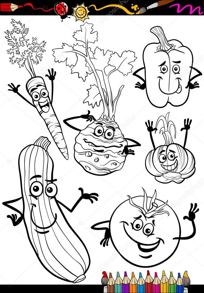 Cartone animato verdure impostato per libro da colorare