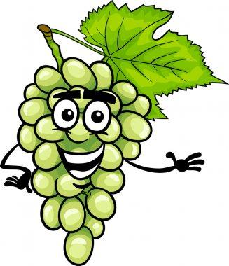 funny white grapes fruit cartoon illustration