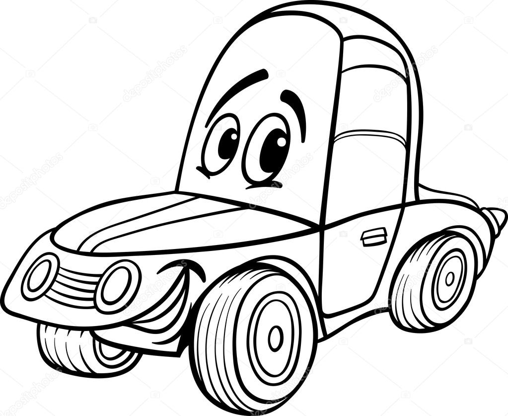Car Cartoon Illustration For Coloring Book Stock Vector