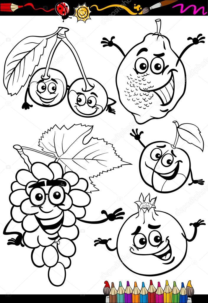 frutas de dibujos animados para colorear libro — Vector de stock ...