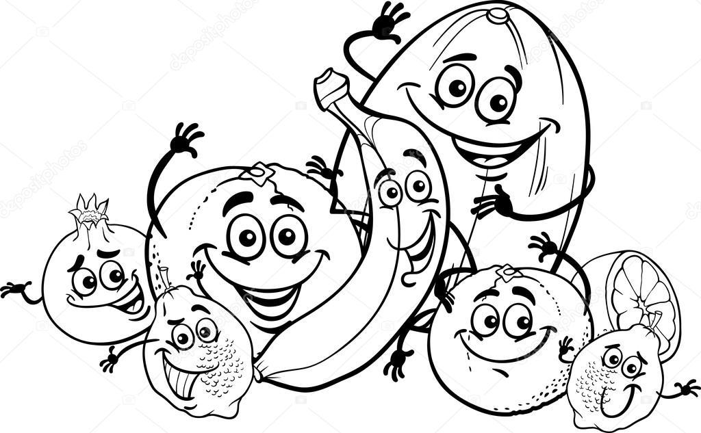 dibujos animados de frutas cítricas para colorear libro — Vector de ...