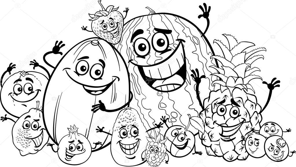 dibujos animados graciosos frutas para colorear libro