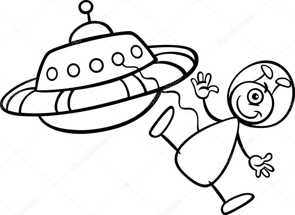 Kitap Boyama Ile Ufo Alien Stok Vektör Izakowski 27006155