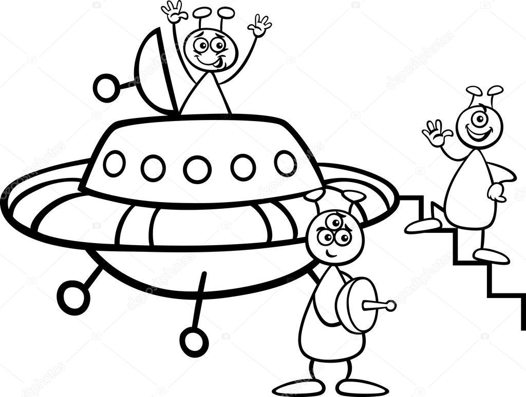 Ufo Uzaylılar Için Boyama Kitabı Stok Vektör Izakowski 27006451
