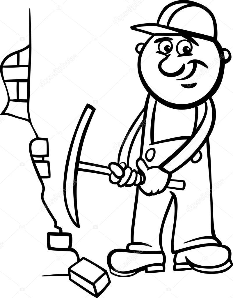 trabajador con pico Página para colorear — Archivo Imágenes ...
