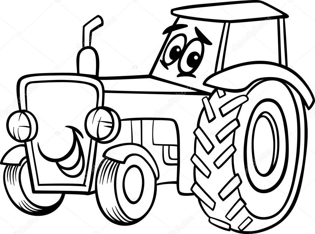 dibujos animados de tractor para colorear libro — Archivo Imágenes ...