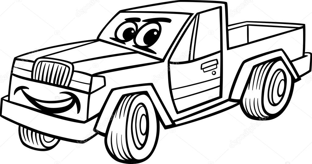 Pickup Car Cartoon Coloring Page Stock Vector C Izakowski 27577003