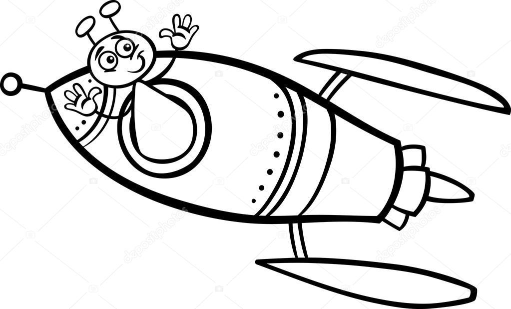 Alien en página para colorear de dibujos animados de cohete ...