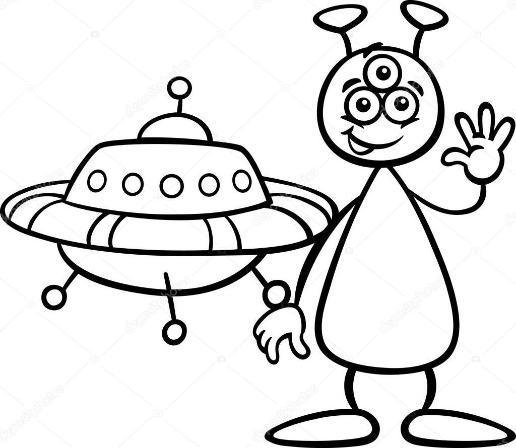 Alien con ufo para colorear libro — Archivo Imágenes Vectoriales ...