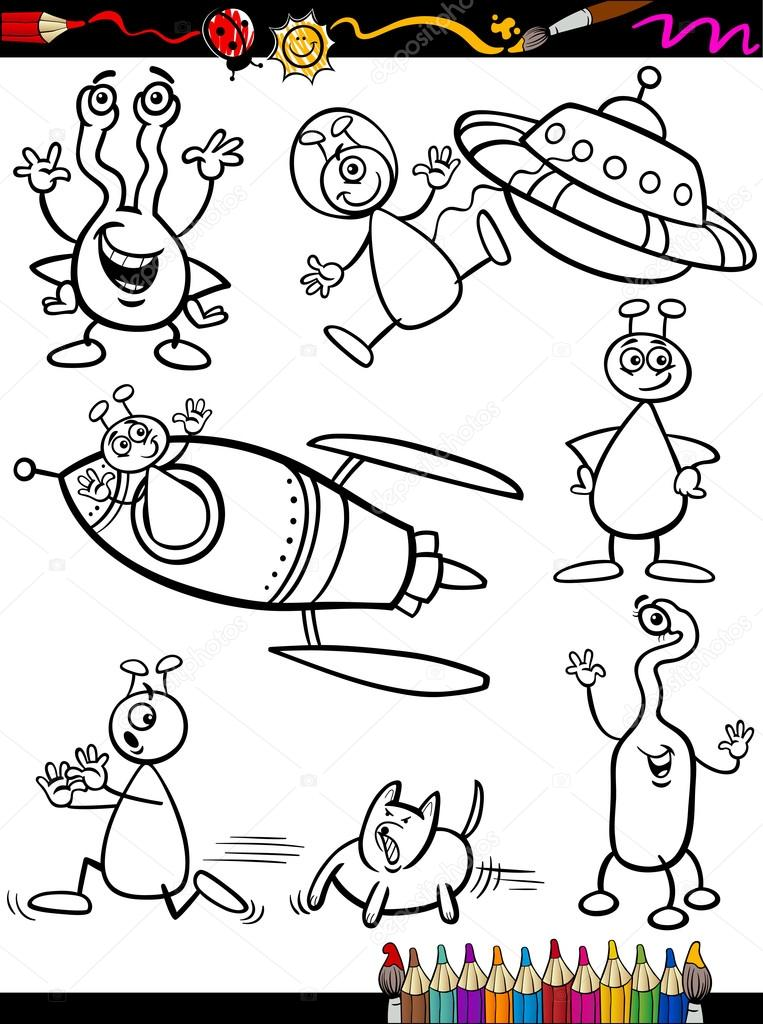 juego para colorear libro de dibujos animados extranjeros — Archivo ...