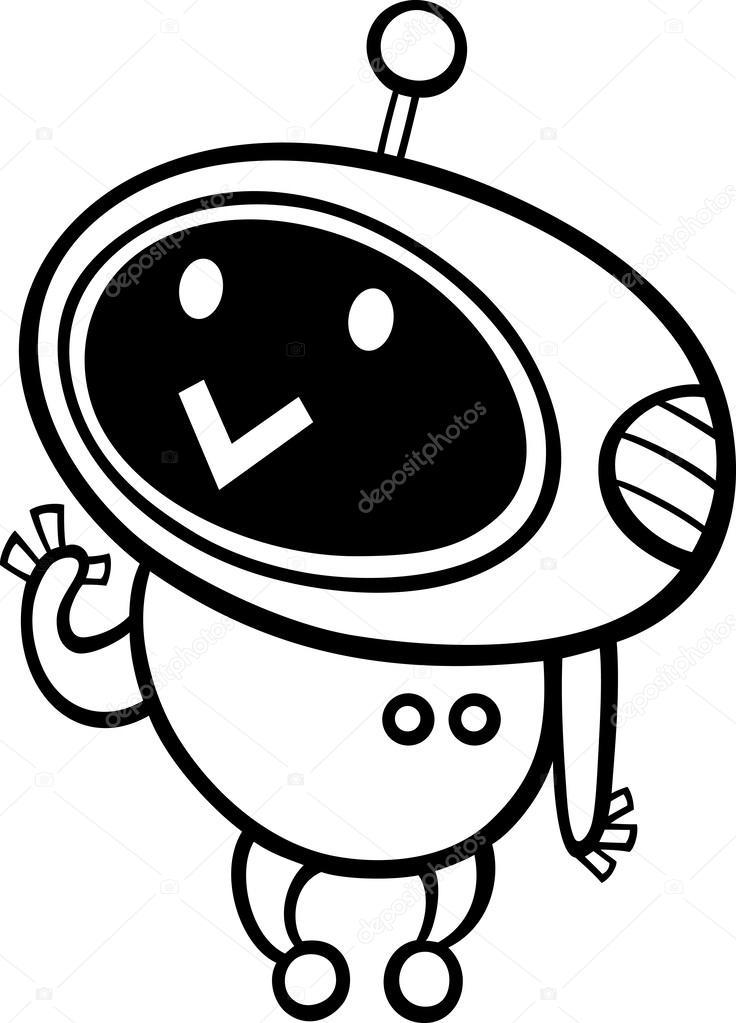 Dessin Animé Kawaii Robot Coloriage Image Vectorielle