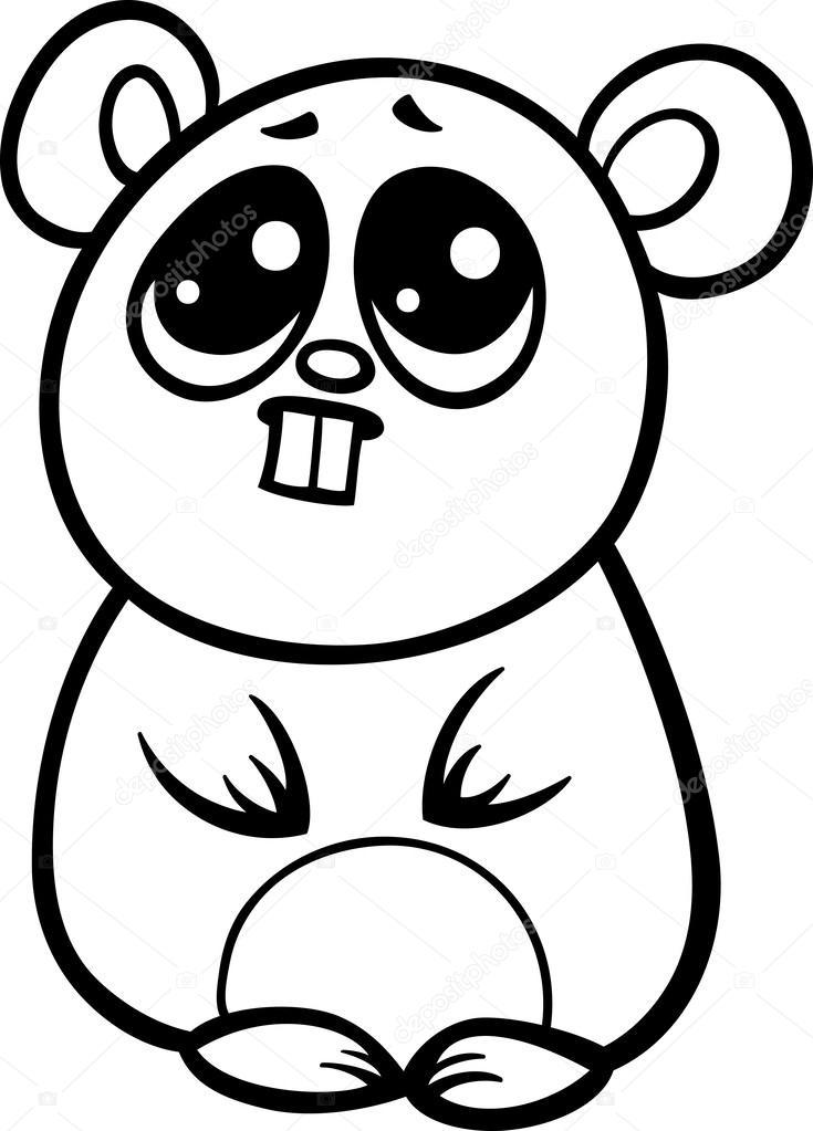 Pagina Para Colorear De Dibujos Animados Kawaii Hamster Archivo