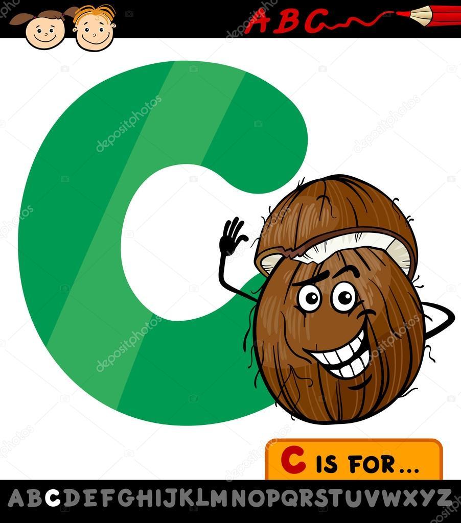 Lettre c avec illustration de dessin anim de noix de coco - Dessin noix de coco ...