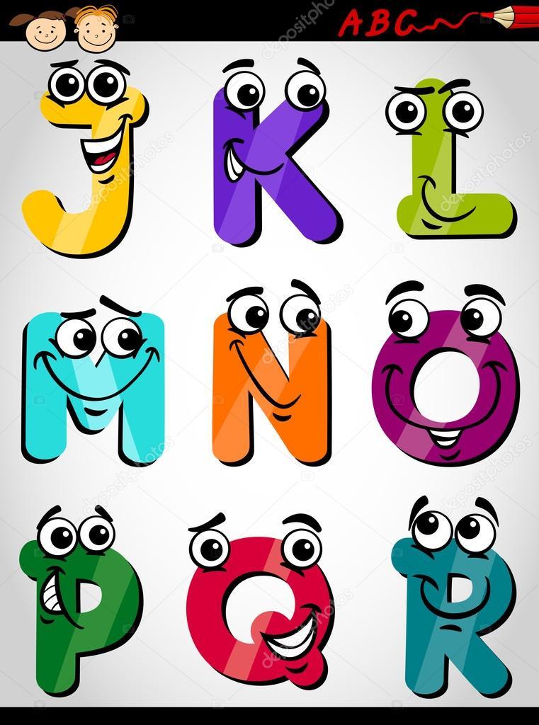 5 Letter Cartoon Characters : Ilustração de desenhos animados alfabeto bonitinho