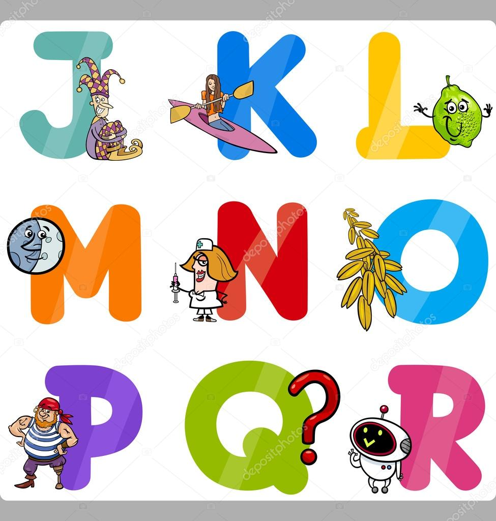 Cartoon Illustration Of Funny Capital Letters Alphabet With Objects For Language And Vocabulary Education Children From J To R Vector By Izakowski
