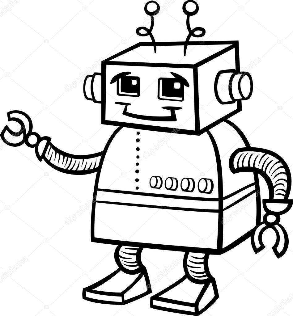 Robot Cartoon Illustration For Coloring Stock Vector C Izakowski