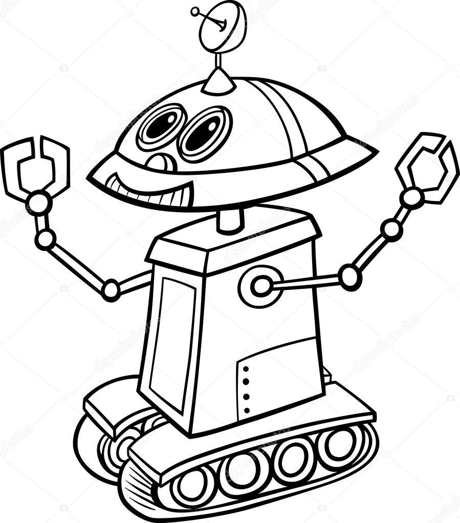 roboter-cartoon-illustration zum ausmalen — stockvektor
