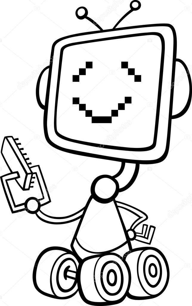 Ilustración de dibujos animados de robots para colorear — Archivo ...