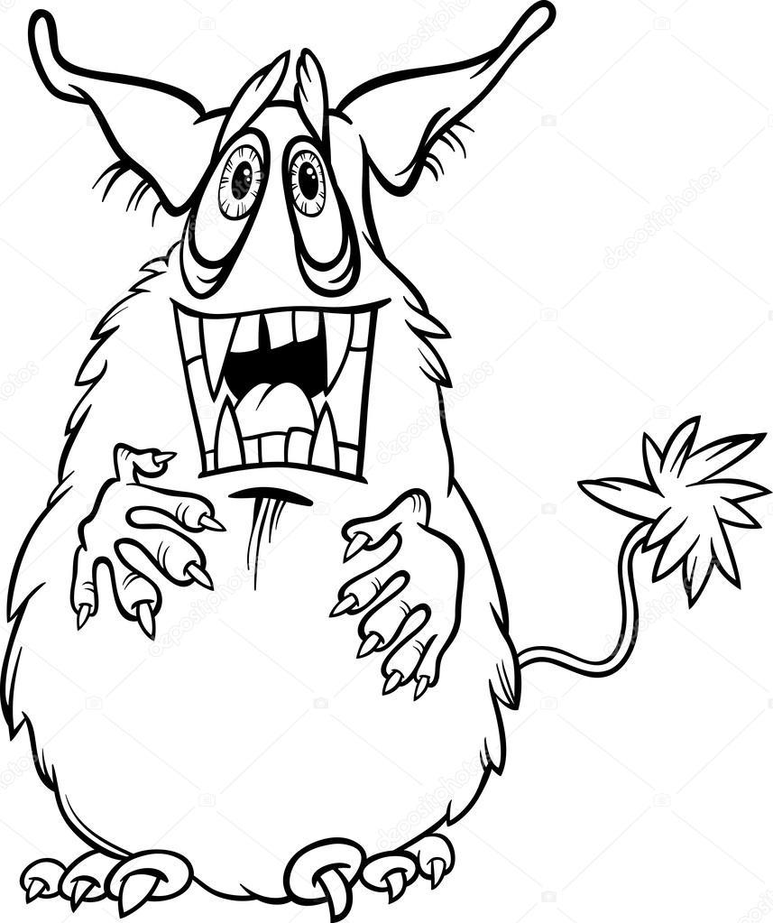 Karikatür Canavar Illüstrasyon Boyama Stok Vektör Izakowski
