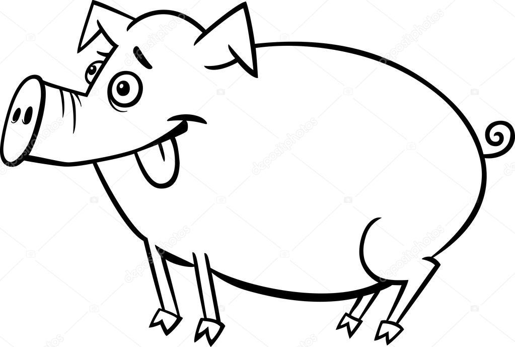 Patos Para Colorear Para Para Con Para Vector Stock Sin: Desenho De Porco De Fazenda Para Colorir