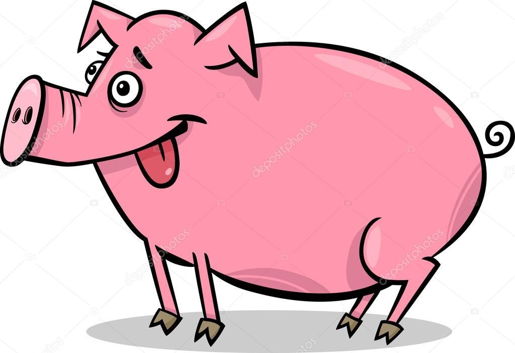 Cochon Dessin illustration de dessin animé animaux ferme cochon — image