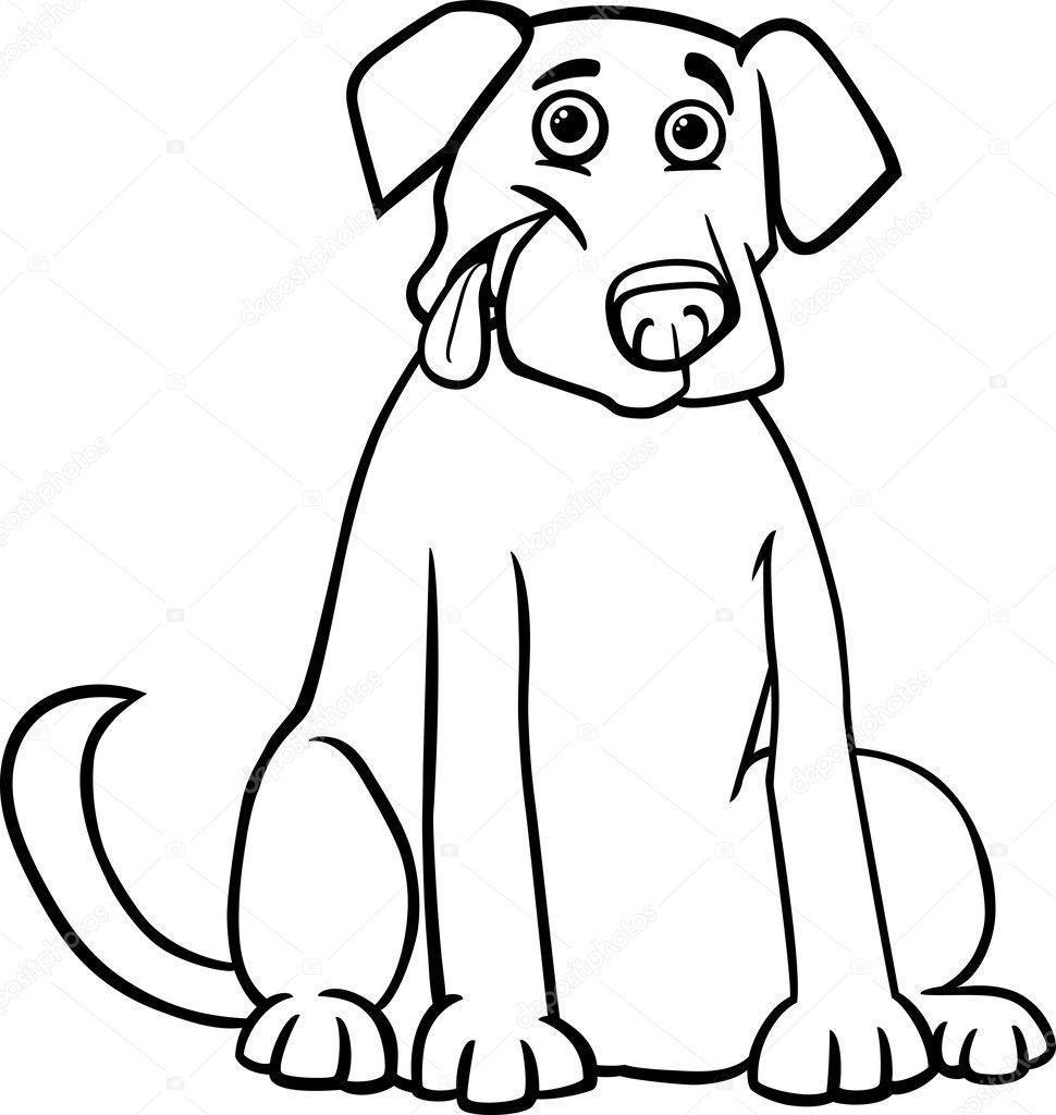 Coloriage De Chien Labrador.Caricature De Labrador Retriever Pour Cahier De Coloriage Image
