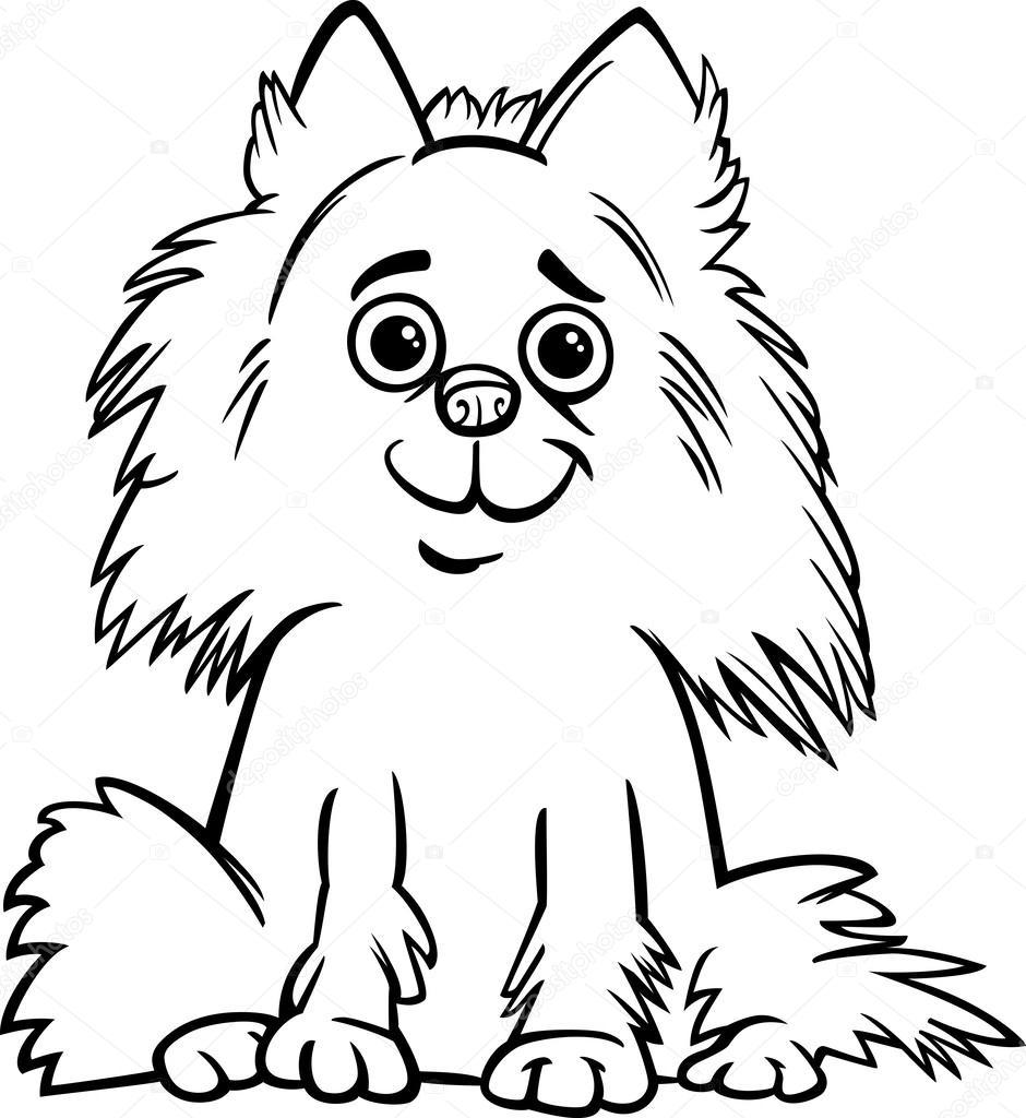 perro Pomerania de dibujos animados para colorear libro — Vector de ...