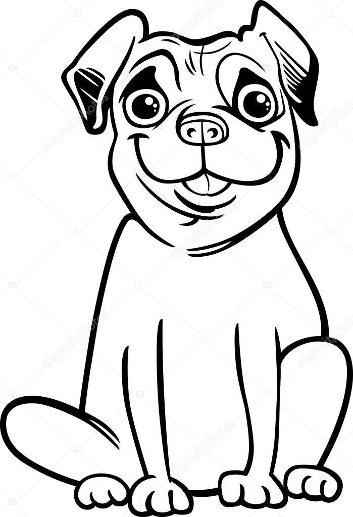 Мопс собака мультфильм для раскраски книга — Векторное ...