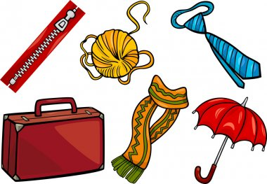Cartoon Illustration of Different Household Objects and Clothing or Accessories Clip Art Set stock vector