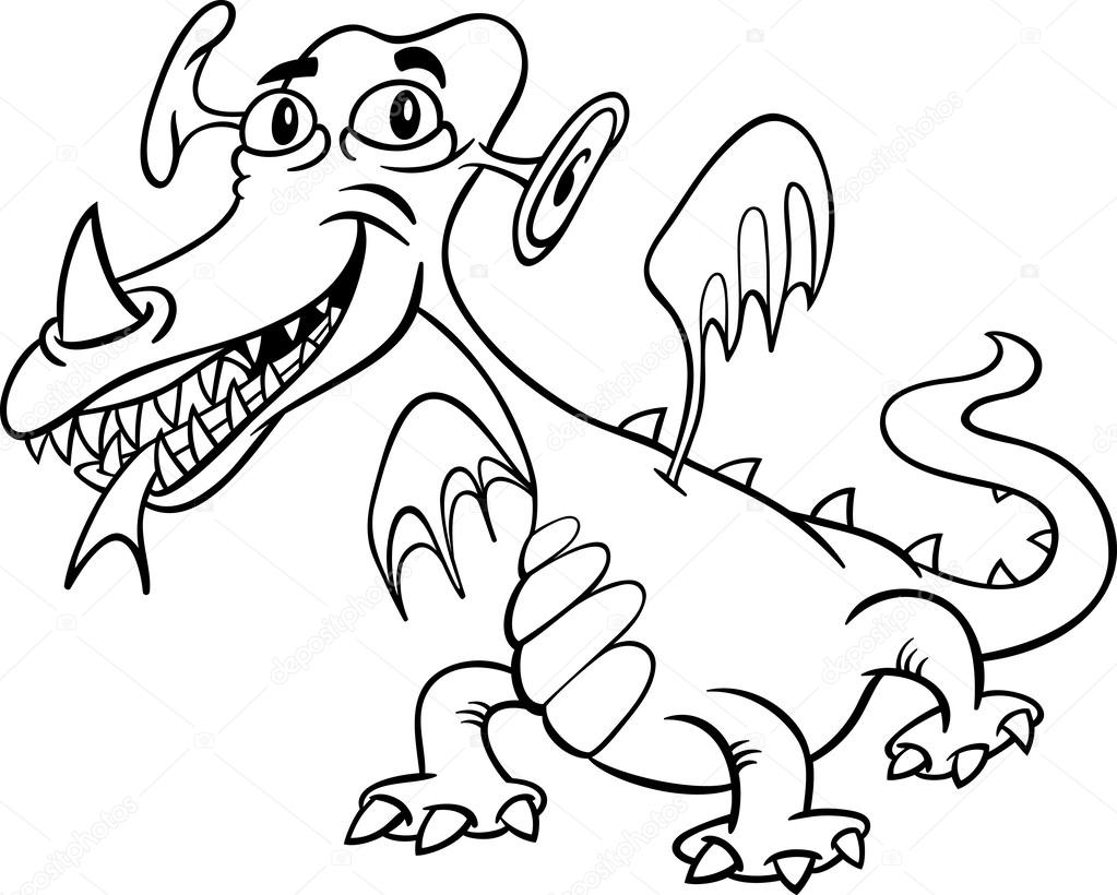 Drawings Cartoon Monsters Cartoon Monster Or Dragon For Coloring Stock Vector C Izakowski 31111699