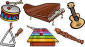 Fotografie musikalischen Objekte cartoon-Illustration-Satz