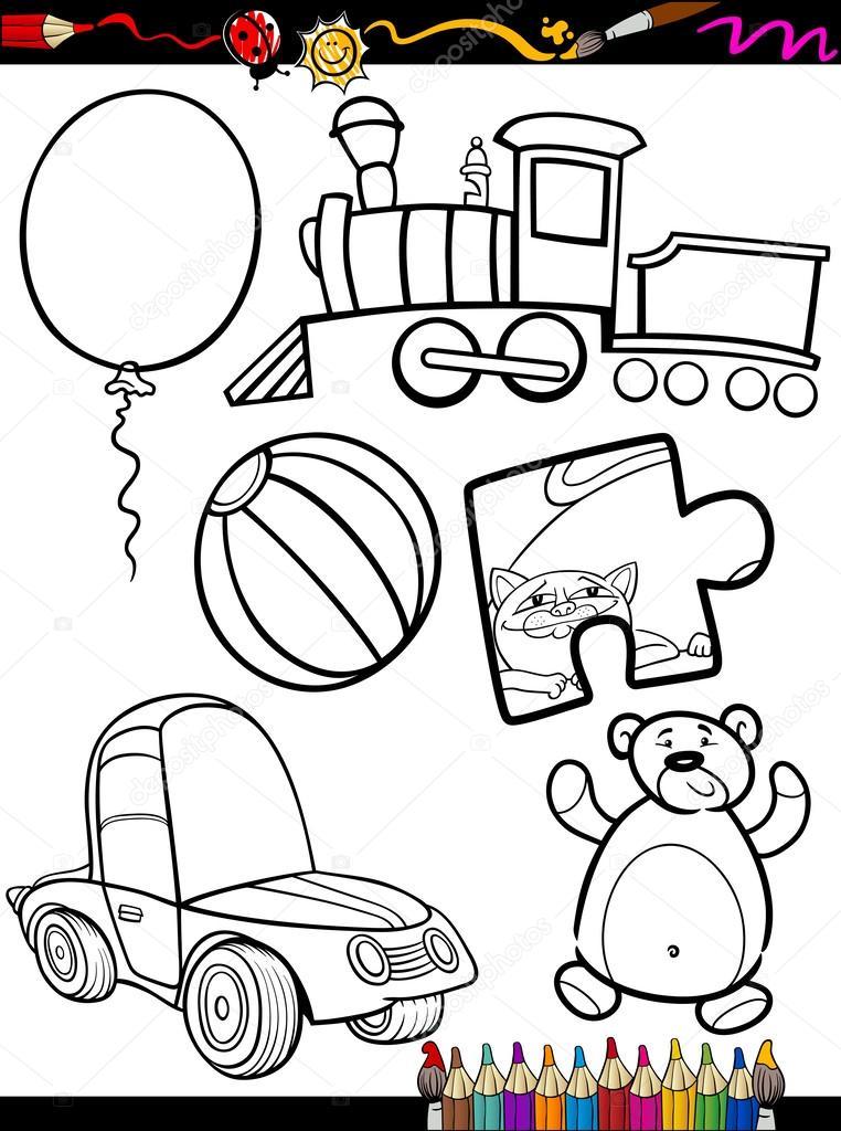 objetos de juguetes de dibujos animados para colorear página ...
