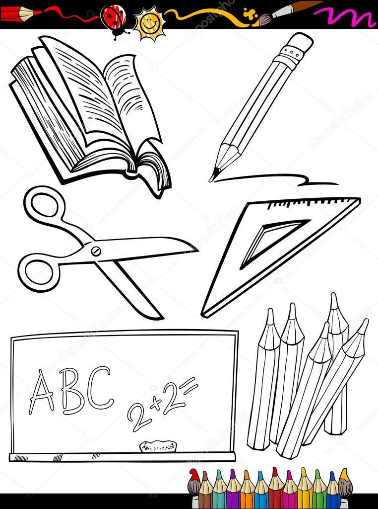 Imágenes: objetos de la escuela para colorear | Escuela de dibujos ...